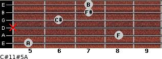 C#11#5/A for guitar on frets 5, 8, x, 6, 7, 7