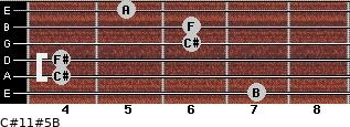 C#11#5/B for guitar on frets 7, 4, 4, 6, 6, 5