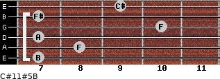 C#11#5/B for guitar on frets 7, 8, 7, 10, 7, 9