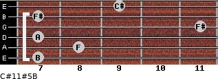 C#11#5/B for guitar on frets 7, 8, 7, 11, 7, 9