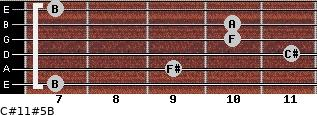 C#11#5/B for guitar on frets 7, 9, 11, 10, 10, 7