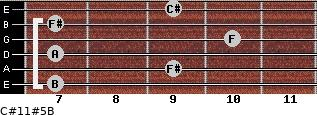 C#11#5/B for guitar on frets 7, 9, 7, 10, 7, 9
