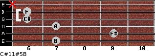 C#11#5/B for guitar on frets 7, 9, 7, 6, 6, x