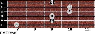 C#11#5/B for guitar on frets 7, 9, 9, 10, 10, 9
