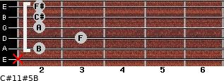 C#11#5/B for guitar on frets x, 2, 3, 2, 2, 2