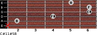 C#11#5/B for guitar on frets x, 2, 4, 6, 6, 5