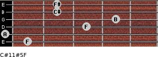 C#11#5/F for guitar on frets 1, 0, 3, 4, 2, 2