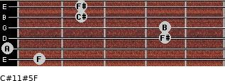 C#11#5/F for guitar on frets 1, 0, 4, 4, 2, 2