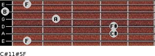 C#11#5/F for guitar on frets 1, 4, 4, 2, 0, 1