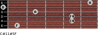 C#11#5/F for guitar on frets 1, 4, 4, 2, 0, 5