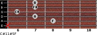 C#11#5/F for guitar on frets x, 8, 7, 6, 7, 7
