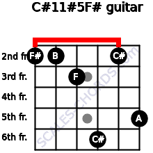 C#11#5/F# for guitar on frets 2, 2, 3, 6, 2, 5