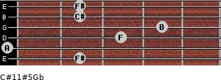 C#11#5/Gb for guitar on frets 2, 0, 3, 4, 2, 2