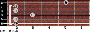 C#11#5/Gb for guitar on frets 2, 2, 3, 2, 2, 5
