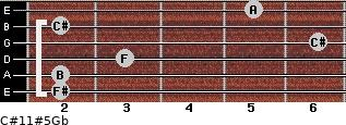 C#11#5/Gb for guitar on frets 2, 2, 3, 6, 2, 5