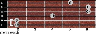 C#11#5/Gb for guitar on frets 2, 2, 4, 6, 6, 5