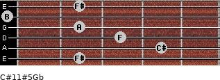 C#11#5/Gb for guitar on frets 2, 4, 3, 2, 0, 2
