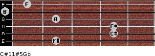 C#11#5/Gb for guitar on frets 2, 4, 4, 2, 0, 1