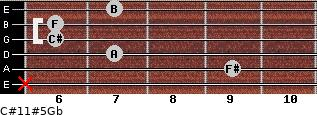 C#11#5/Gb for guitar on frets x, 9, 7, 6, 6, 7