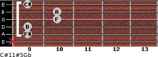 C#11#5/Gb for guitar on frets x, 9, 9, 10, 10, 9