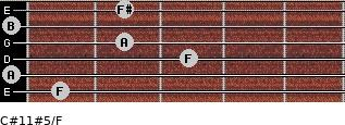 C#11#5/F for guitar on frets 1, 0, 3, 2, 0, 2