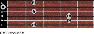 C#11#5sus/F# for guitar on frets 2, 4, 4, 2, 0, 2