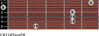 C#11#5sus/F# for guitar on frets 2, 4, 4, 4, 0, 5