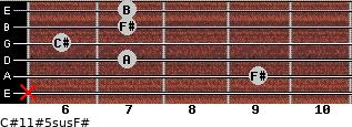 C#11#5sus/F# for guitar on frets x, 9, 7, 6, 7, 7