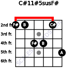 C#11#5sus/F# for guitar on frets 2, 2, 4, 4, 2, 5
