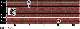 C#11sus for guitar on frets 9, x, 6, 6, 7, 7