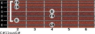 C#11sus/G# for guitar on frets 4, 2, 4, 4, 2, 2