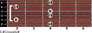 C#11sus/G# for guitar on frets 4, 2, 4, 4, 2, 4