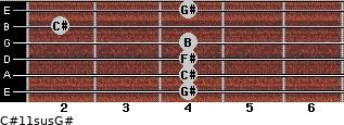 C#11sus/G# for guitar on frets 4, 4, 4, 4, 2, 4