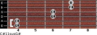 C#11sus/G# for guitar on frets 4, 4, 6, 6, 7, 7
