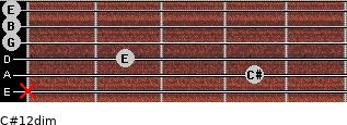 C#1/2dim for guitar on frets x, 4, 2, 0, 0, 0
