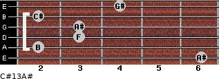 C#13/A# for guitar on frets 6, 2, 3, 3, 2, 4