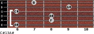 C#13/A# for guitar on frets 6, 8, 8, 6, 9, 7
