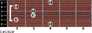 C#13/G# for guitar on frets 4, 2, 3, 3, 2, 4
