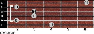 C#13/G# for guitar on frets 4, 2, 3, 3, 2, 6