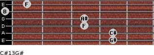 C#13/G# for guitar on frets 4, 4, 3, 3, 0, 1