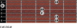 C#13/G# for guitar on frets 4, 4, 3, 3, 0, 4