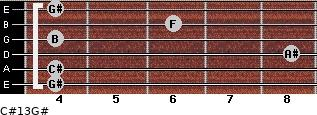 C#13/G# for guitar on frets 4, 4, 8, 4, 6, 4