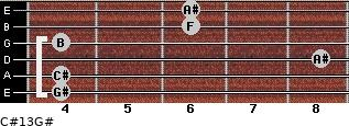 C#13/G# for guitar on frets 4, 4, 8, 4, 6, 6