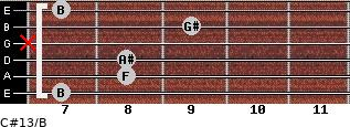 C#13/B for guitar on frets 7, 8, 8, x, 9, 7