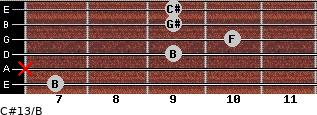 C#13/B for guitar on frets 7, x, 9, 10, 9, 9