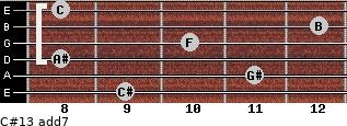 C#13 add(7) for guitar on frets 9, 11, 8, 10, 12, 8