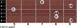 C#13 add(7) for guitar on frets 9, 8, 8, 5, 9, 7