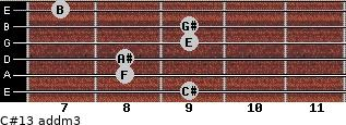 C#13 add(m3) for guitar on frets 9, 8, 8, 9, 9, 7