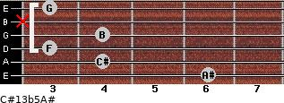 C#13b5/A# for guitar on frets 6, 4, 3, 4, x, 3