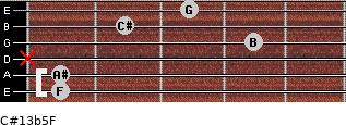 C#13b5/F for guitar on frets 1, 1, x, 4, 2, 3